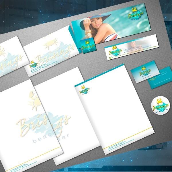 Criação de Brand Brisings Material gráfico impresso e digital